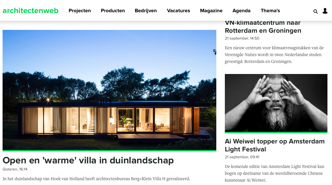 Villa H featured on architectenweb