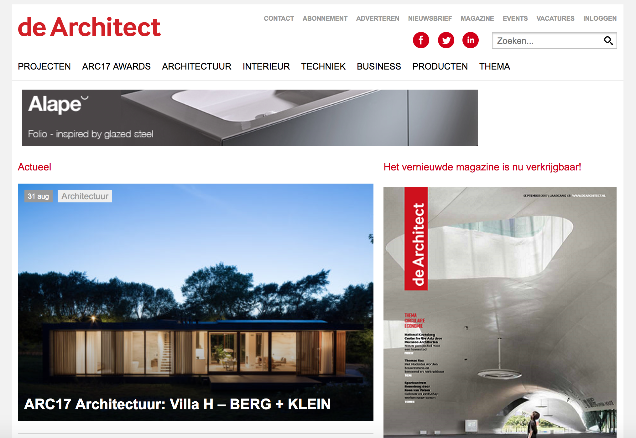 Villa H featured on 'de Architect'